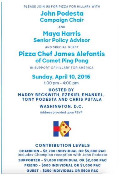 Poziv za skupljanje novca za Hillary Clinton u organizaciji Jamesa Alefantisa.