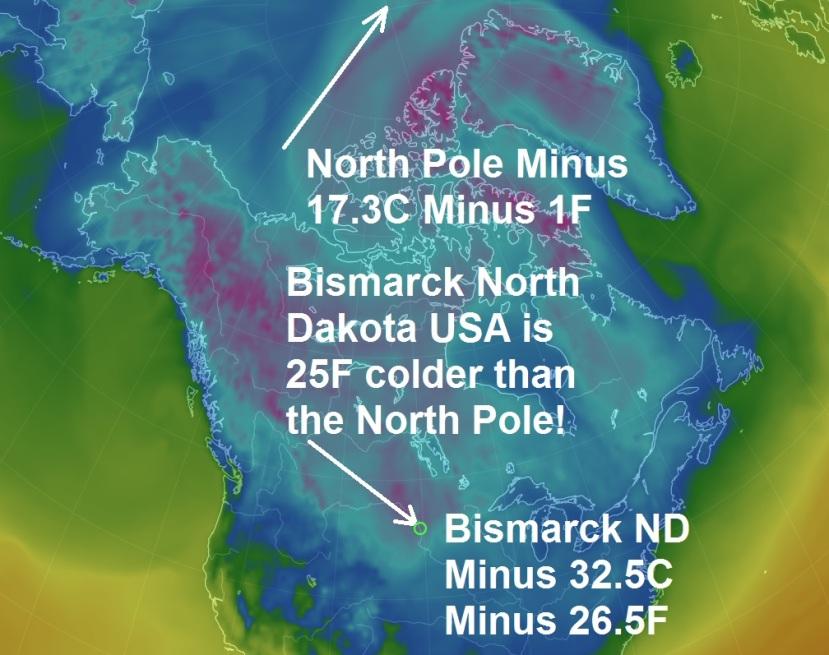 Temperaturne razlike između Sjevernog pola i Sjeverne Dakote.
