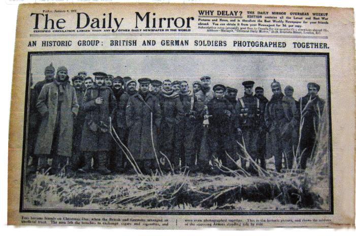Fotografija vijesti Daily Mirrora o božićnom primirju.