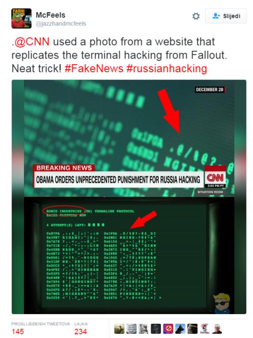 """McFeels je postavio sljedeći Tweet: """"CNN je koristio materijal s web stranice koja replicira terminal za hakiranje iz Fallouta. Zgodan trik. #LažneVijesti #ruskohakiranje."""""""