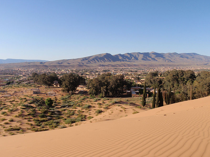 Uobičajen pogled na pustinski grad Ain Sefra s planinama Atlas u pozadini.