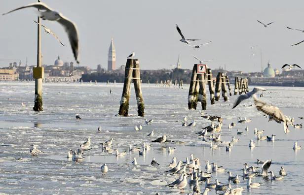 Nedavno zaleđena Venecija, pokazatelj ekstremne hladnoće na Mediteranu.