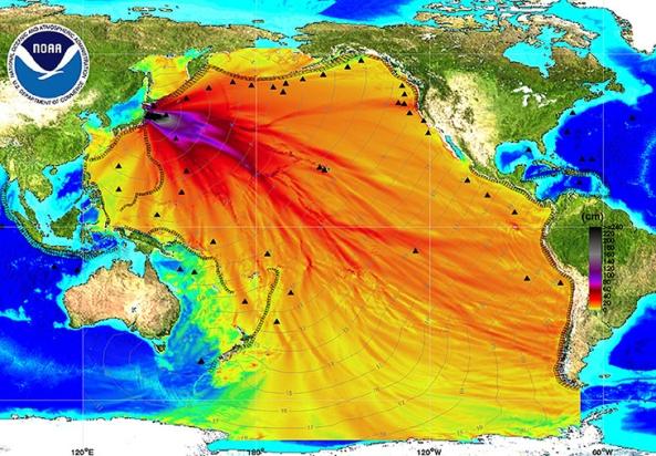 Mapa širenja radijacije iz Fukushime napravljena od strane američke National Oceanic and Atmospheric Administration (NOAA).